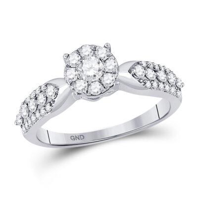 10kt White Gold Round Diamond Cluster Bridal Wedding Engagement Ring 5/8 Cttw