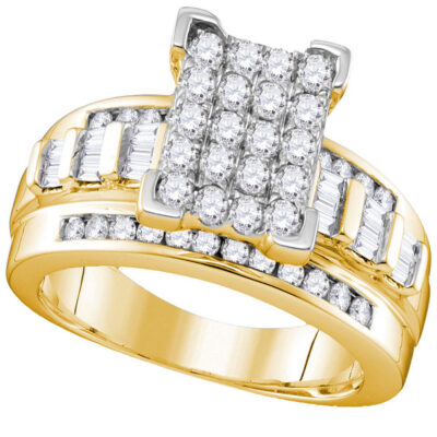 Yellow-tone Sterling Silver Round Diamond Cluster Bridal Wedding Engagement Ring 1 Cttw