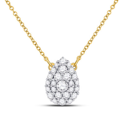 10kt Yellow Gold Womens Round Diamond Teardrop Cluster Necklace 1/2 Cttw