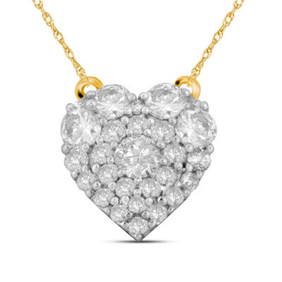 10kt Yellow Gold Womens Round Diamond Heart Necklace 1/2 Cttw
