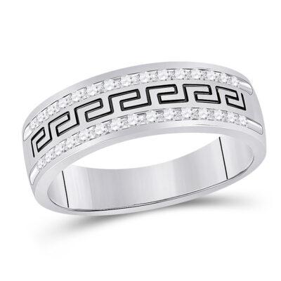 14k White Gold Mens Round Diamond Grecco Wedding Anniversary Band 1/2 Cttw