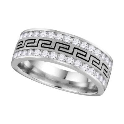 14k White Gold Mens Round Diamond Grecco Wedding Anniversary Band 3/4 Cttw