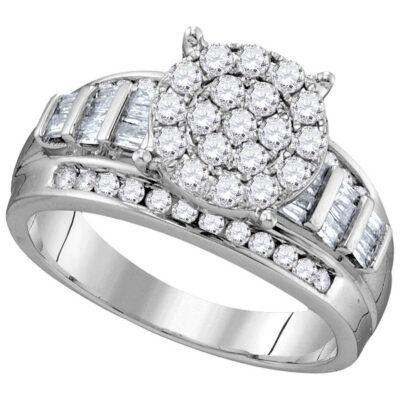 10kt White Gold Round Diamond Cluster Bridal Wedding Engagement Ring 1 Cttw Size 6