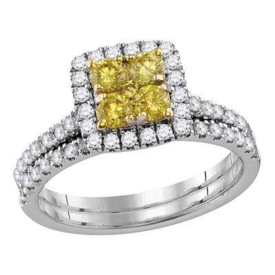 14kt White Gold Round Yellow Diamond Cluster Bridal Wedding Ring Band Set 1-1/4 Cttw