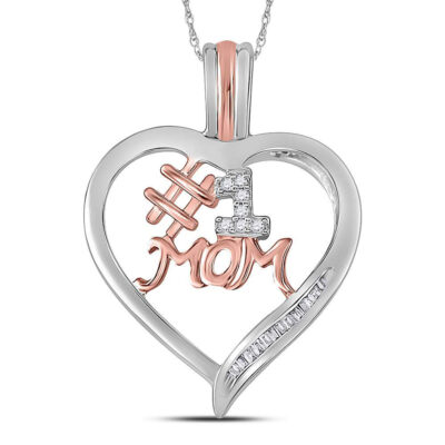 Sterling Silver Womens Round Diamond #1 Mom Heart Pendant 1/10 Cttw