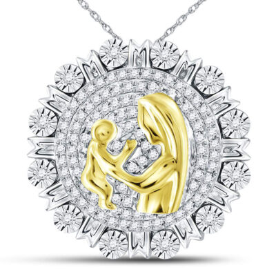 Sterling Silver Womens Round Diamond Embrace Mom Mother Pendant 1/4 Cttw