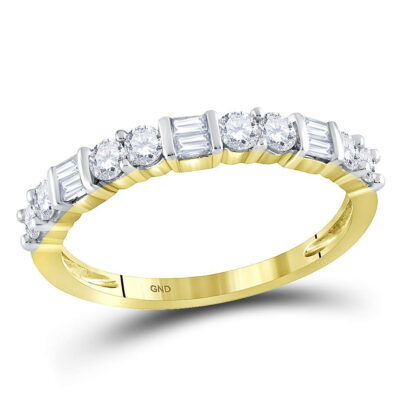 10kt Yellow Gold Womens Baguette Round Diamond Band Ring 1/2 Cttw