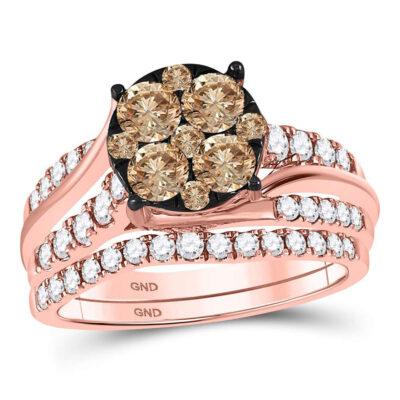 14kt Rose Gold Womens Round Brown Diamond Bridal Wedding Ring Band Set 1-1/2 Cttw