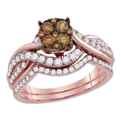 14kt Rose Gold Womens Round Brown Diamond Cluster Bridal Wedding Ring Band Set 1 Cttw