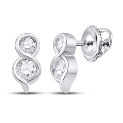 14kt White Gold Womens Round Diamond Drop 2-stone Earrings 1/4 Cttw