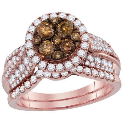14kt Rose Gold Womens Round Brown Diamond Bridal Wedding Engagement Ring Band Set