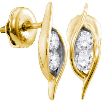 14kt Yellow Gold Womens Round Diamond 2-stone Hearts Together Stud Earrings 1/4 Cttw