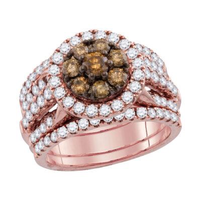 14kt Rose Gold Womens Round Brown Diamond 3-Piece Bridal Wedding Ring Band Set 1 Cttw