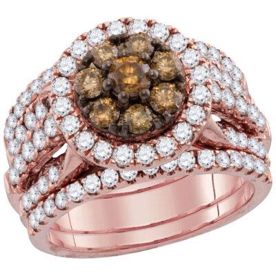 14kt Rose Gold Womens Round Brown Diamond 3-Piece Bridal Wedding Ring Band Set 4 Cttw