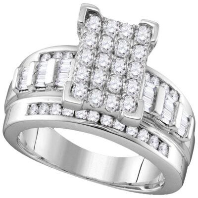 10kt White Gold Round Diamond Bridal Wedding Engagement Ring 7/8 Cttw Size 9
