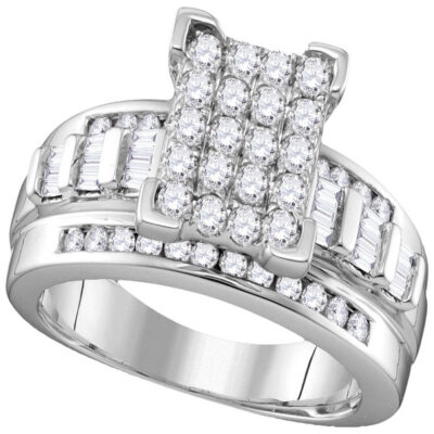 10kt White Gold Round Diamond Bridal Wedding Engagement Ring 7/8 Cttw Size 7.5