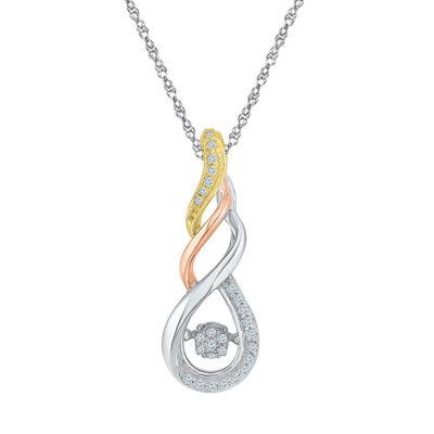 10kt Tri-Tone Gold Womens Round Diamond Fashion Pendant 1/8 Cttw