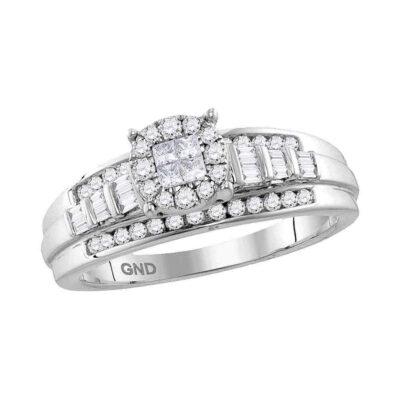 10kt White Gold Princess Round Diamond Cluster Bridal Wedding Engagement Ring 1/2 Cttw