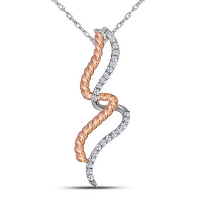 10kt Two-tone Gold Womens Round Diamond Fashion Pendant 1/10 Cttw