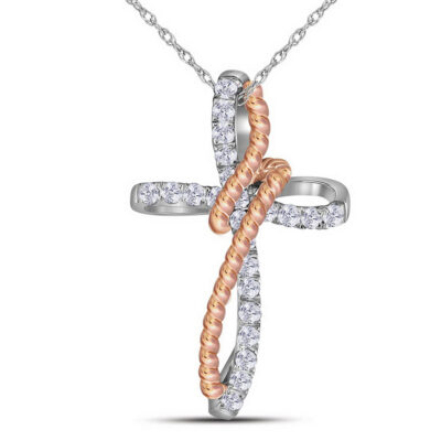 10kt Two-tone Gold Womens Round Diamond Rope Cross Pendant 1/5 Cttw