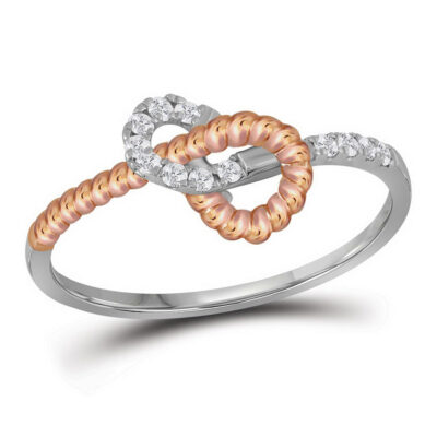 10kt Two-tone Gold Womens Round Diamond Rope Band Ring 1/6 Cttw