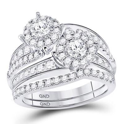 14kt White Gold Round Diamond Bridal Wedding Ring Band Set 1-3/4 Cttw