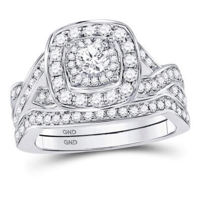14kt White Gold Round Diamond Bridal Wedding Ring Band Set 1