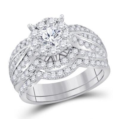 14kt White Gold Round Diamond Bridal Wedding Ring Band Set 1-7/8 Cttw
