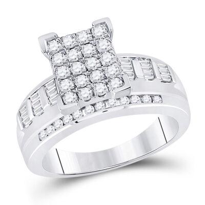 10kt White Gold Round Diamond Cluster Bridal Wedding Engagement Ring 7/8 Cttw