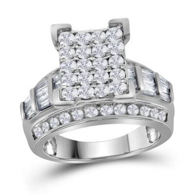 10kt White Gold Round Diamond Cluster Bridal Wedding Engagement Ring 2 Cttw