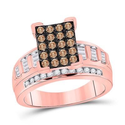 10kt Rose Gold Round Brown Diamond Cluster Bridal Wedding Engagement Ring 1 Cttw