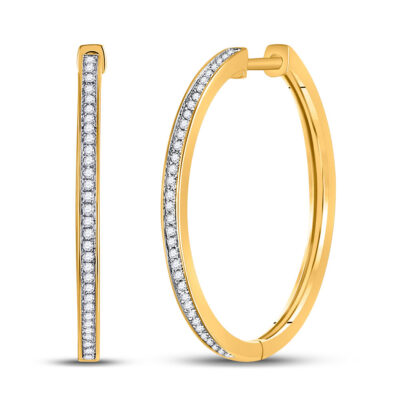10kt Yellow Gold Womens Round Diamond Hoop Earrings 1/4 Cttw
