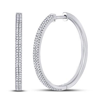 10kt White Gold Womens Round Diamond Hoop Earrings 1/2 Cttw