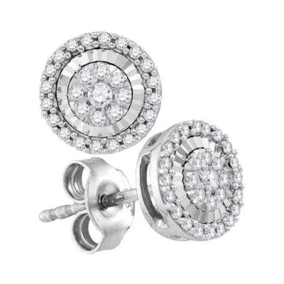 10kt White Gold Womens Round Diamond Framed Flower Cluster Earrings 1/3 Cttw