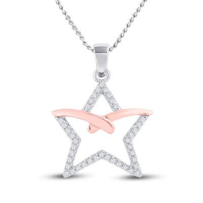 10kt Two-tone Gold Womens Round Diamond Star Pendant 1/6 Cttw