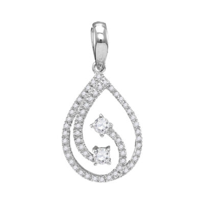10kt White Gold Womens Round Diamond 2-stone Hearts Together Teardrop Pendant 1/5 Cttw
