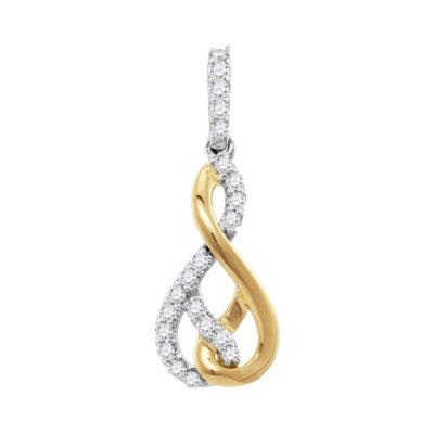 10kt Two-tone Gold Womens Round Diamond Fashion Pendant 1/3 Cttw