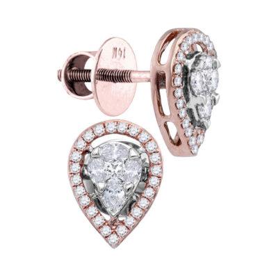 14kt Rose Gold Womens Oval Diamond Teardrop Cluster Stud Earrings 1/2 Cttw