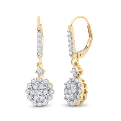 14kt Yellow Gold Womens Round Diamond Flower Cluster Dangle Earrings 1 Cttw
