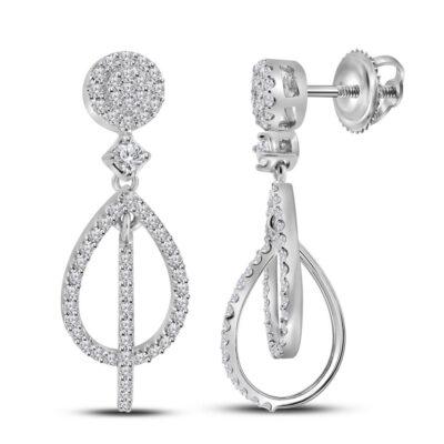 10kt White Gold Womens Round Diamond Double Teardrop Dangle Earrings 3/8 Cttw