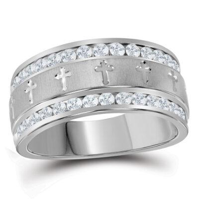 14k White Gold Mens Round Diamond Grecco Cross Wedding Anniversary Band Ring 1 Cttw