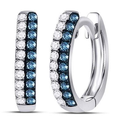 10kt White Gold Womens Round Blue Color Enhanced Diamond Huggie Earrings 1/5 Cttw