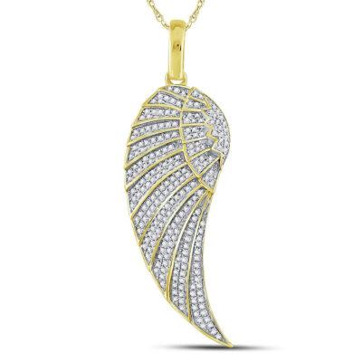 10kt Yellow Gold Mens Round Diamond Angel Wing Charm Pendant 5/8 Cttw
