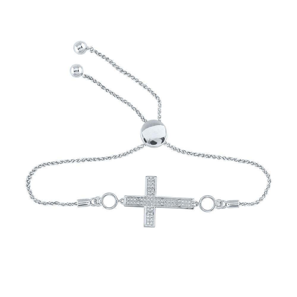 Sterling Silver Womens Round Diamond Cross Religious Bolo Bracelet 1/20 Cttw