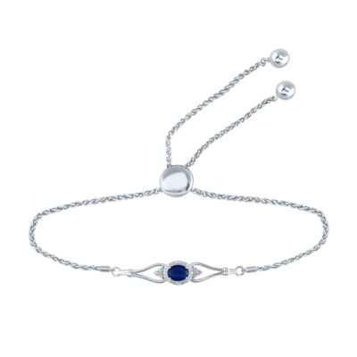 Sterling Silver Womens Oval Lab-Created Blue Sapphire Diamond Bolo Bracelet 1 Cttw