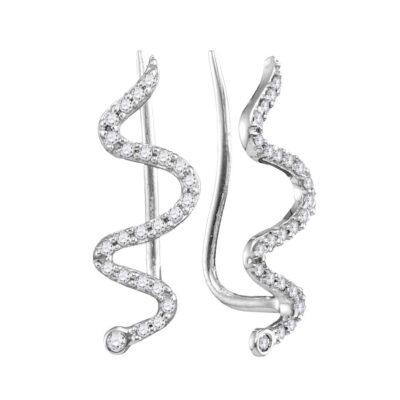 10kt White Gold Womens Round Diamond Snake Climber Earrings 1/6 Cttw
