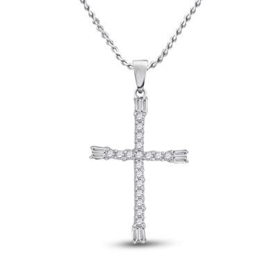 10kt White Gold Womens Round Diamond Cross Pendant 1/5 Cttw