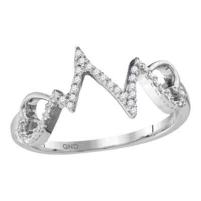 Sterling Silver Womens Round Diamond Heartbeat Ring 1/10 Cttw