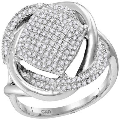 Sterling Silver Womens Round Diamond Offset Square Cluster Ring 1/2 Cttw