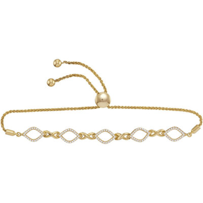 10kt Yellow Gold Womens Round Diamond Infinity Oval Bolo Bracelet 1/4 Cttw